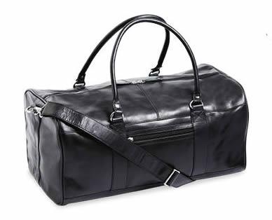 ALDI Black Leather Overnight Bag