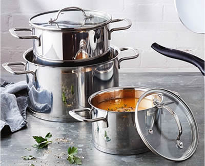 ALDI Stainless Steel Pot Set 3pc