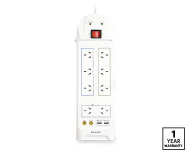 ALDI 8 Way Surge Protector Power Board by BAUHN