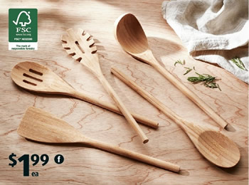 Crofton assorted bamboo utensils at Aldi