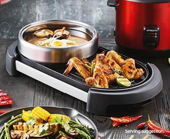 Ambiano 2-in-1 Grill Plate with Hot Pot at ALDI Australia