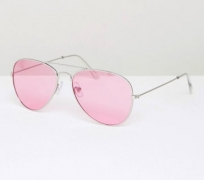 Jeepers Peepers Aviator Pink Tinted Sunglasses $18