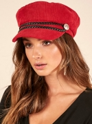 Showpo Red Corduroy Fiddler Conductor Hat $14