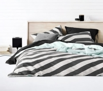 Aura Tilted Stripe Charcoal Quilt Cover $40